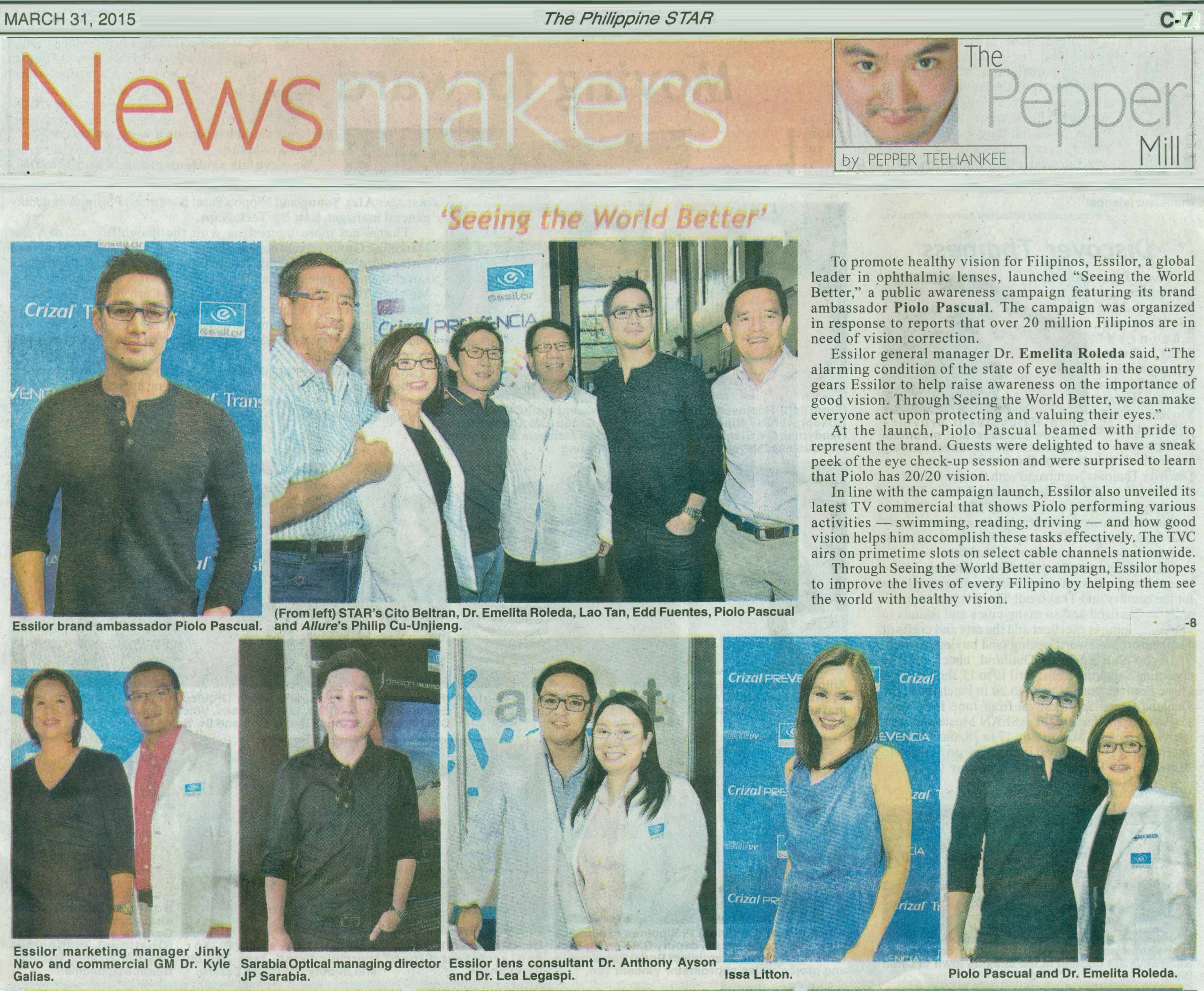 For your eyes only (The Philippine Star) A clear vision of tomorrow (The  Philippine Star   Online) Essilor supports Philippine ... ded2f3b02b