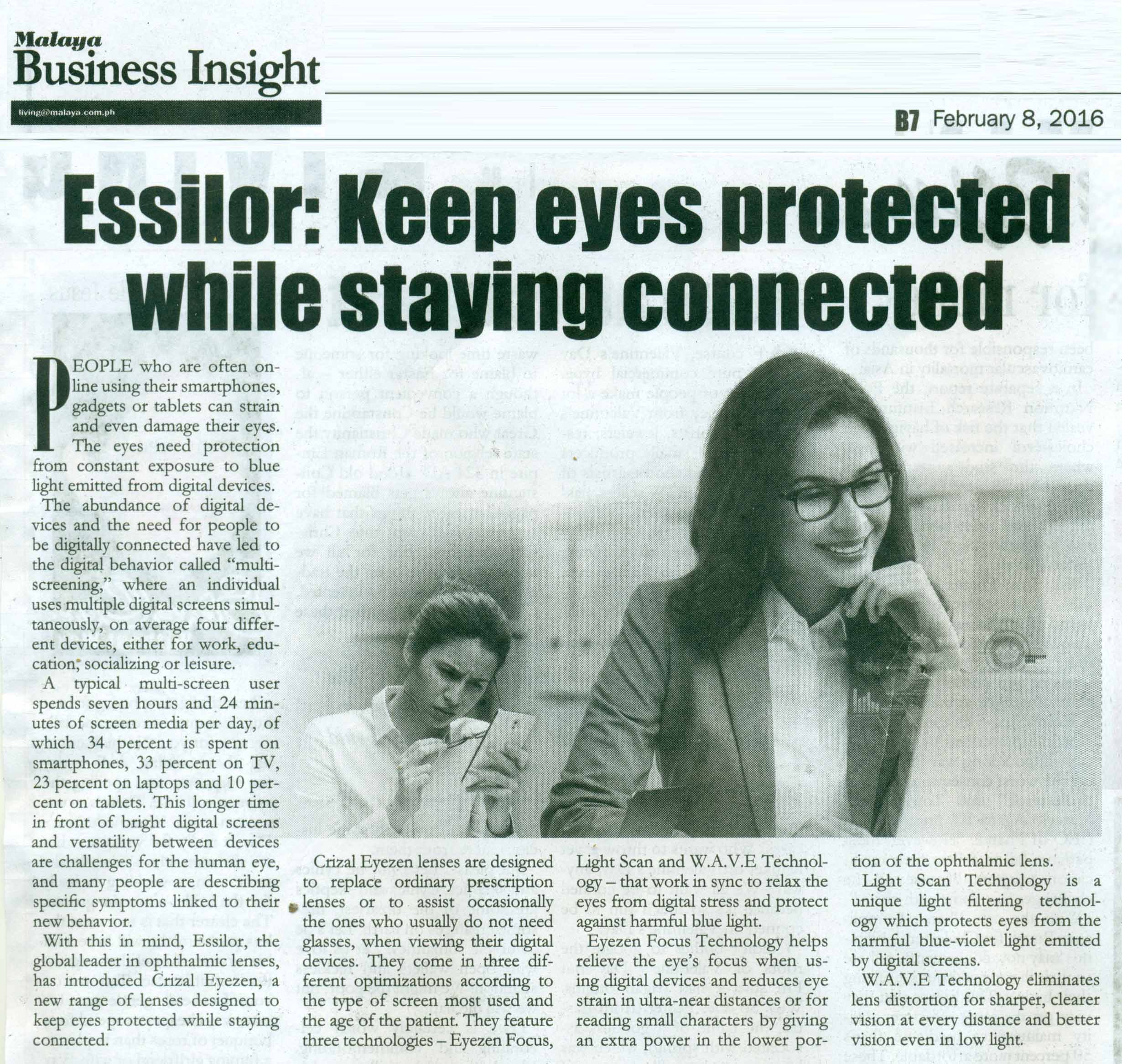 An interactive new website for your eyes (Manila Bulletin   Online) In the  Clear (Style Weekend) Essilor supports Eye Fair for Special Olympics ... 477f511eef